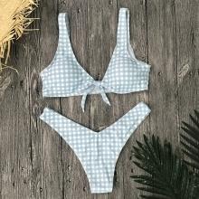 Sexy High Waist Bikini Swimwear Women Swimsuit Plaid Biquini Vintage