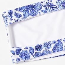 Free Shipping Bandeau Bikini Set Summer Women Blue Floral