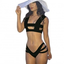 Free Shipping Bikini Brazilian Strappy Swimwear Women High Waist Swimsuit Cut Out