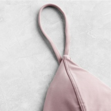 Free Shipping Women Triangle Bikini Set Pink Seam Detail Chest Pad