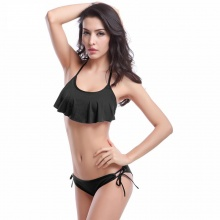 Free Shipping Women Ruffle Swimsuit Black Padded