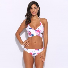 Women Bikini Sexy White Floral Halter Wrap Split