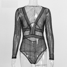 Autumn Sexy Lace Bodysuit Women Deep V Neck Long Sleeve Transparent Black Overalls