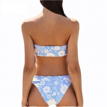Sexy Women Bandeau Bikini Floral Padded Swimsuit Sky Blue