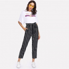 Self Belt Striped Pants Women Fashion Clothing