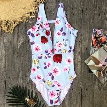 Women Plunging Neck High Cut Bodysuit Monokini Vintage Print Floral