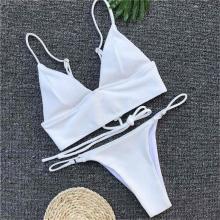Women Bikini Lace Up New White Bather Brazilian Swimwear