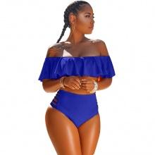 Women Bikini Off Shoulder Ruffle High Waist Yellow