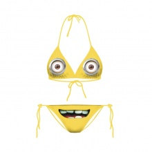 Cartoon Funny Minions Bikinis Set Bandage Push Up Yellow