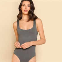 Women Casual Bodysuit Double Scoop Neck Plain Grey