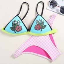 Women Bikini Set Neoprene Embroidery Flower