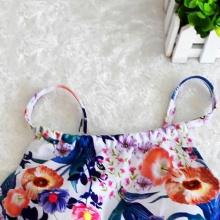 Women Retro Floral Swimsuit Halter Crop Top