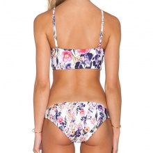 Women Retro Floral Swimsuit Halter Crop Top