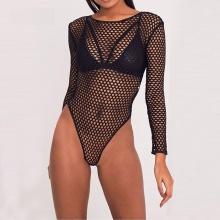 Women Bodysuits Long Sleeve Fishnet Transparent Black