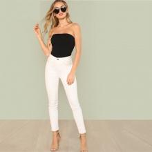 Women Bodysuit Slim Fitted Plain Sleeveless Strapless Black
