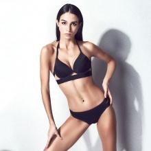 Women Bikini Set Halter Bandage Push Up Black