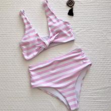 Women Bikini Bandage Tie High Waist Stripe Pink