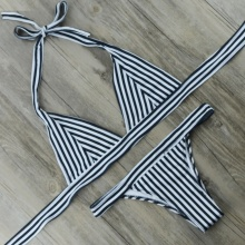 Free Shipping Women Swimsuit Triangle Retro Stripe Bikini Set